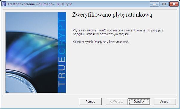 weryfikacja płyty deszyfrującej truecrypt