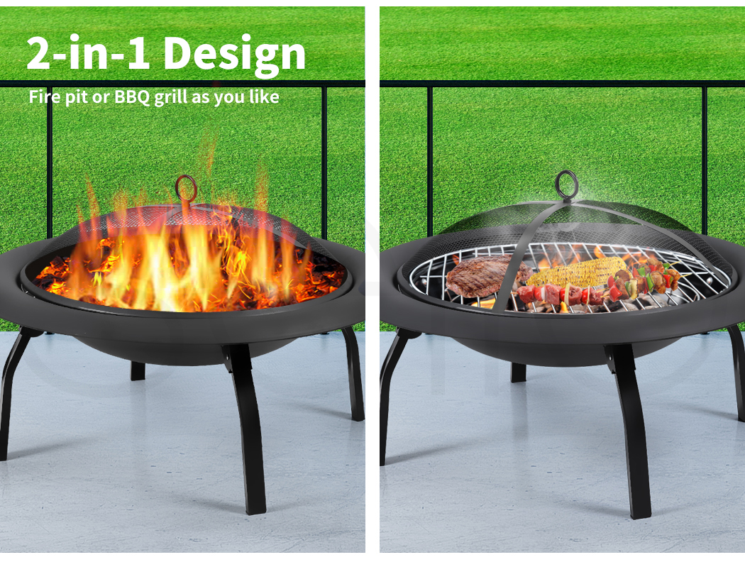 """thumbnail 25 - 22"""" 30"""" Fire Pit BBQ Grill Pits Outdoor Portable Fireplace Garden Patio Heater"""