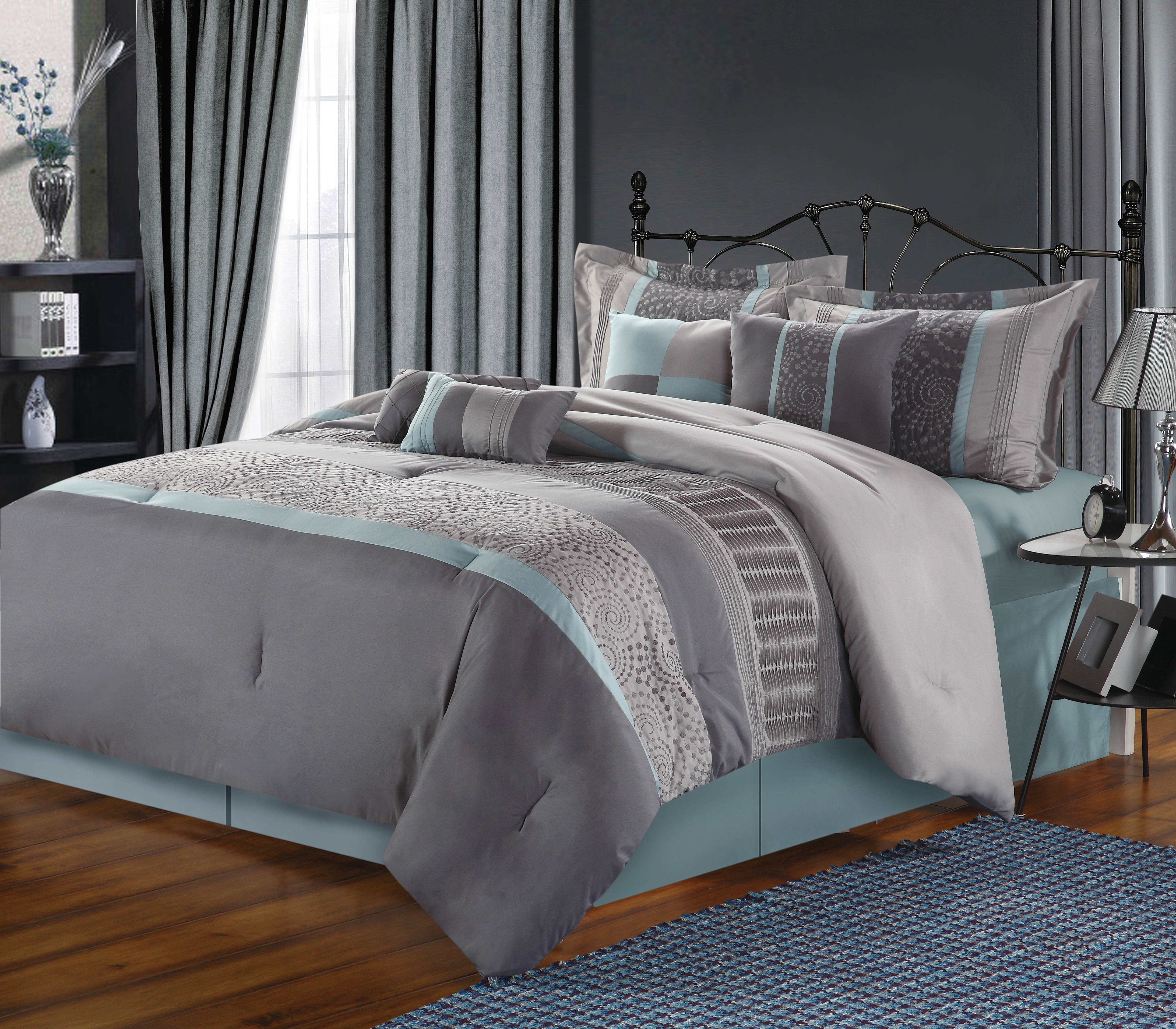 Chic Home Euphoria 8-Piece Embroidered Comforter Set, Aqua Queen