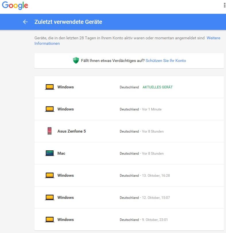 Liste der verbundenen Geräte + letzten Sitzungen im Google Konto.
