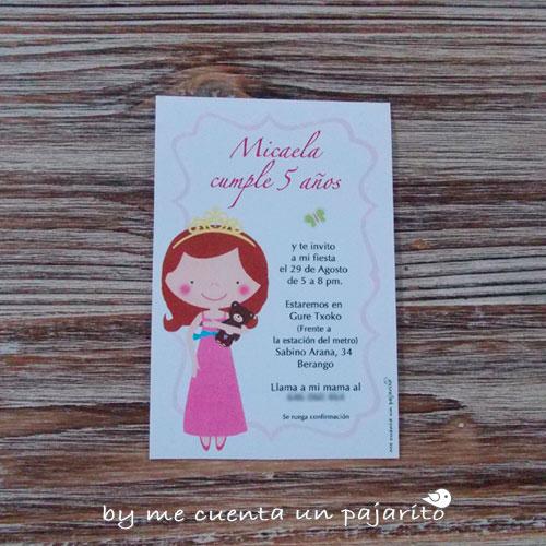 invitación de cumpleaños de la princesa y su osito marrón