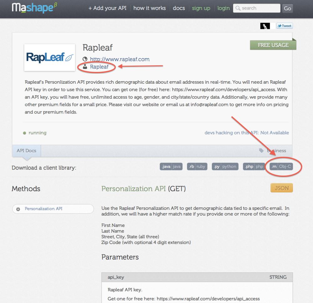Rapleaf API