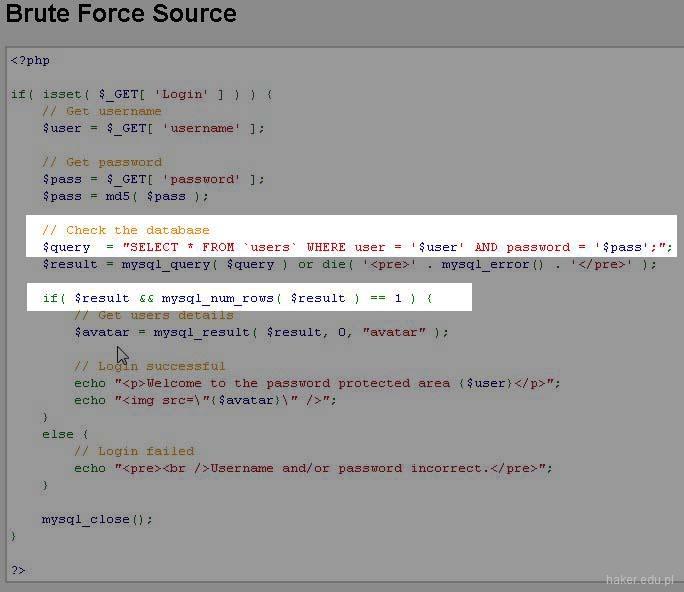 Kod źródłowy PHP z podatnością SQL Injeciton w skrypcie Damn Vulnerable Web Application.