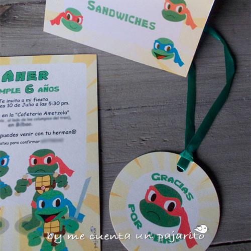 Kit de fiesta de cumpleaños de las tortugas ninja, invitaciones, etiquetas, etiqueta comida mesa