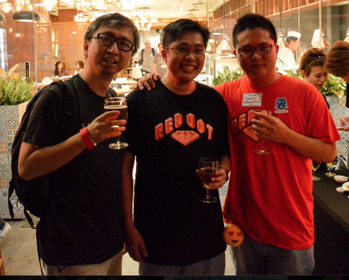 Chonnkeat, Winston, and Juanito Fatas at RedDotRubyConf 2016 after party