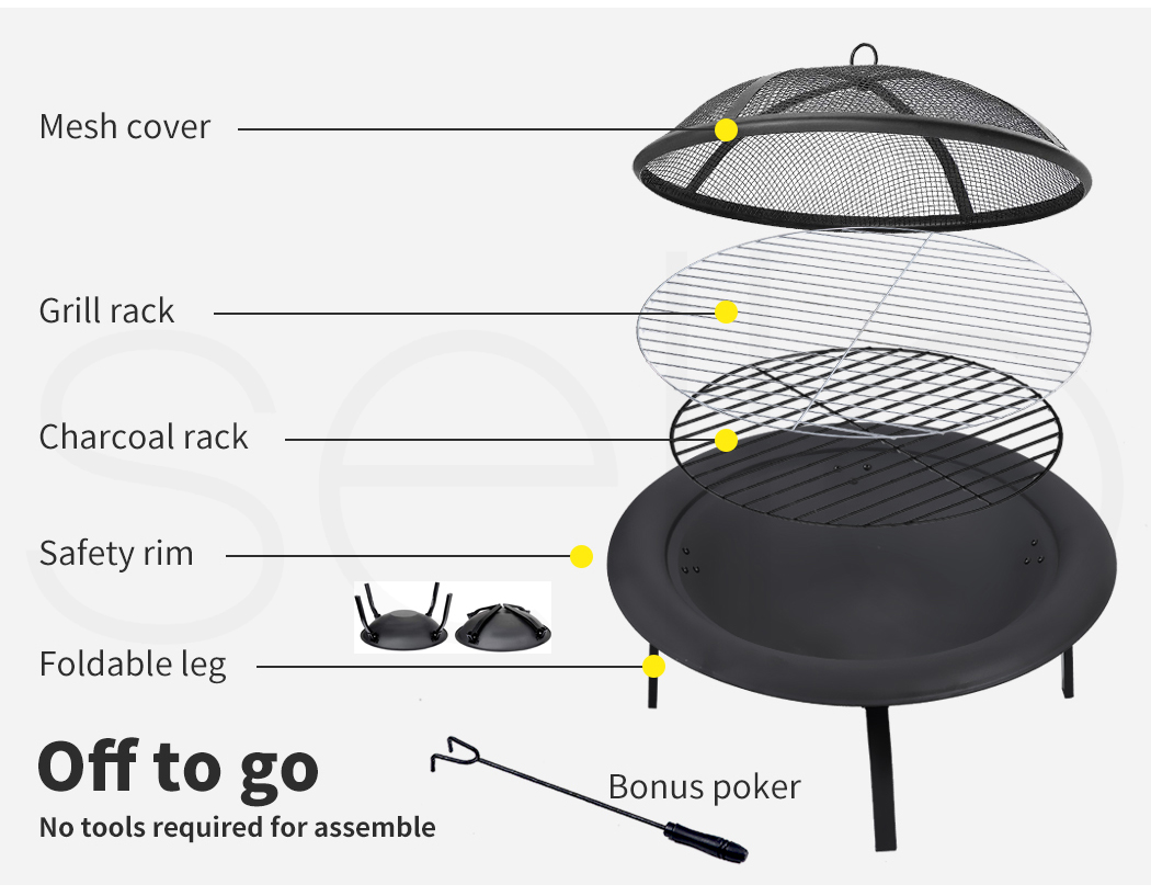 """thumbnail 29 - 22"""" 30"""" Fire Pit BBQ Grill Pits Outdoor Portable Fireplace Garden Patio Heater"""