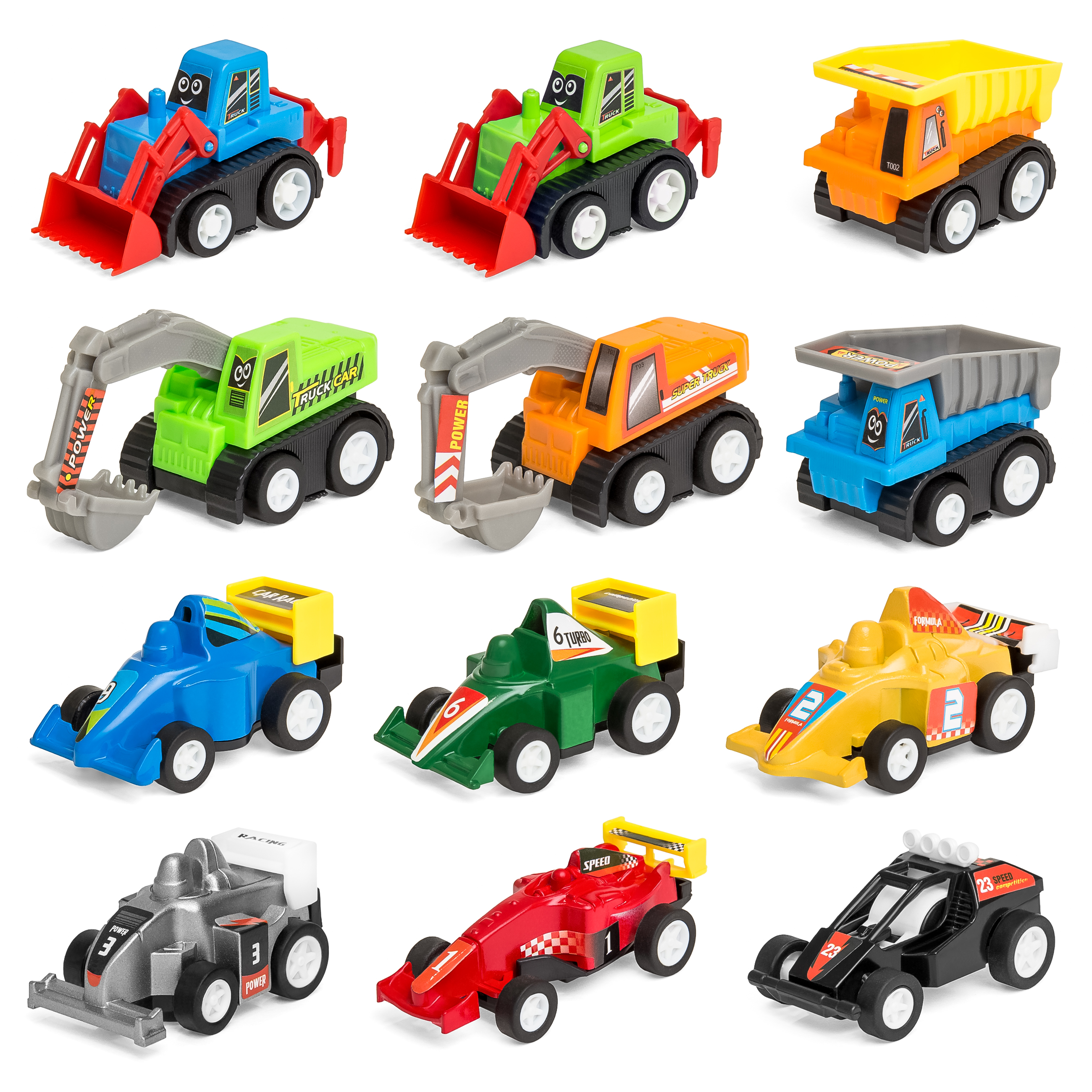 Set of 12 Assorted Pull-Back Toy Cars w/ Construction ...