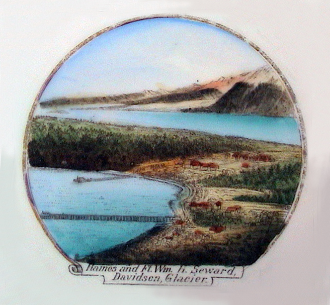 For sale: early Haines Alaska antique souvenir china               showing the town of Haines and Fort William H. Seward,               with Davidson Glacier in the background Over 100 years               old, circa 1898.