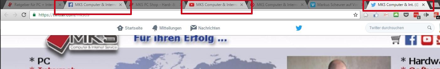 Durch Drücken der Strg-Taste können mehrere Tabs im Google Chrome markiert werden.