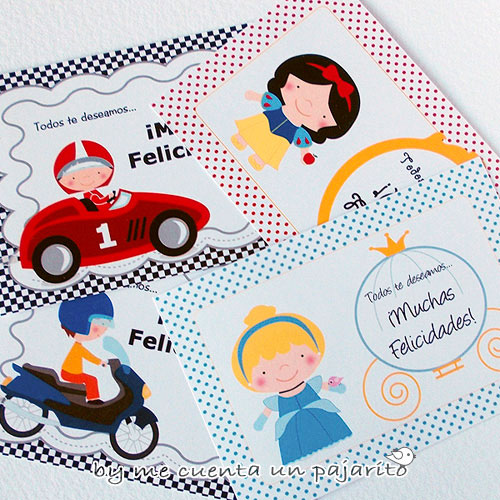 Felicitaciones de cumpleaños, cenicienta, Blancanieves, coche de carreras, motorista