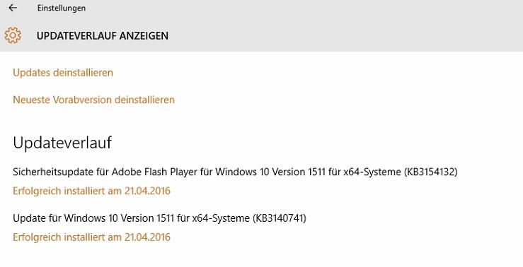 Liste der bisher installierten Windows 10 Updates - auf TERRA Micro-PC verschwunden