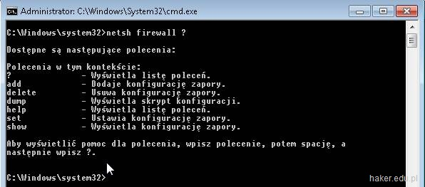 netsh firewall pomoc w konsoli Windows.