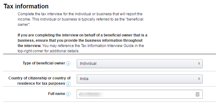 Initial screen for tax info interview