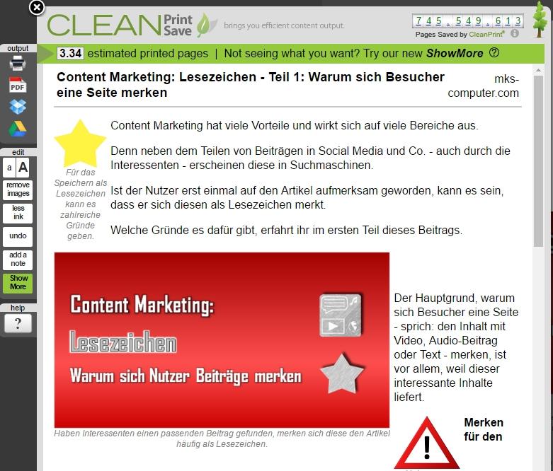 PDF Export-Funktion mit dem Tool CleanSave
