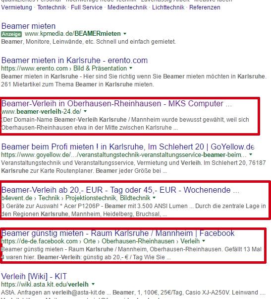 Such-Treffer zu Beamer Verleih Karlsruhe - 3 Treffer von MKS Computer in den TOP 10.