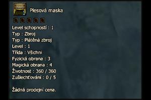 Plesová maska (plusovací)