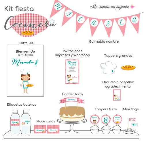 kit de cumpleaños personalizado la cocinera, chef, invitaciones, cartel bienvenida, toppers, etiquetas, pegatinas, guirnalda