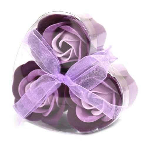 set of 3 soap flowers - lavender roses