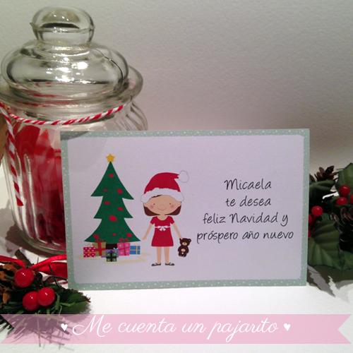 Felicitación de Navidad personalizada con niña, Micaela