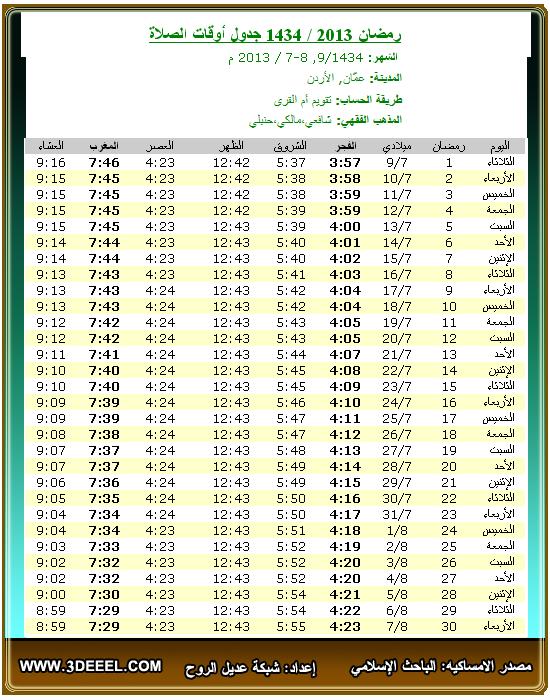 امساكية رمضان 2013 – 1434 | الأردن عمان - امساكية شهر رمضان الاردن مدينة عمان 2013 - امساكية رمضان جميع الدول العربية 2013