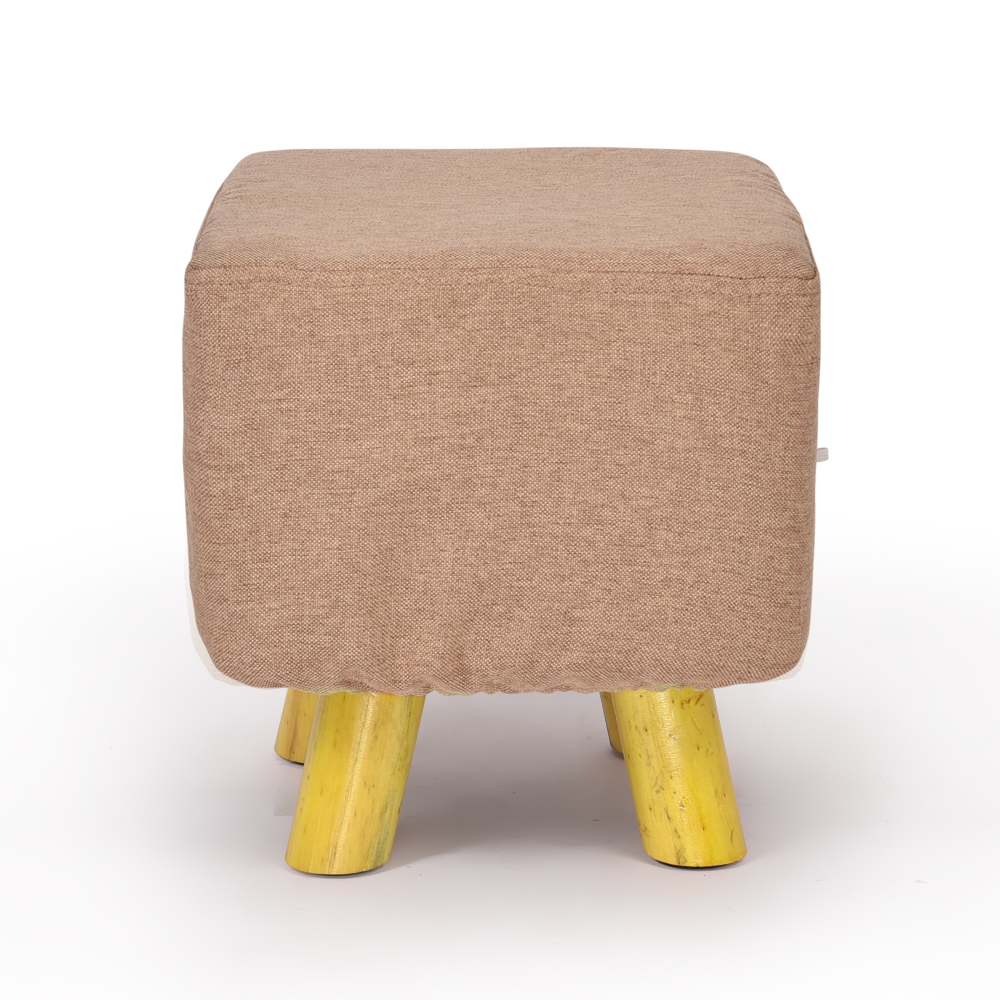 Luxury Chic Wooden Footstool Ottoman Beige