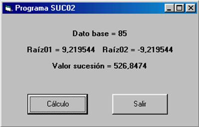 visual basic calculo sucesion