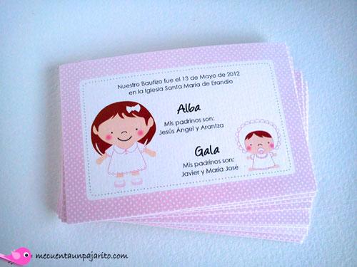 Recordatorio personalizado de bautizo, niña y bebe