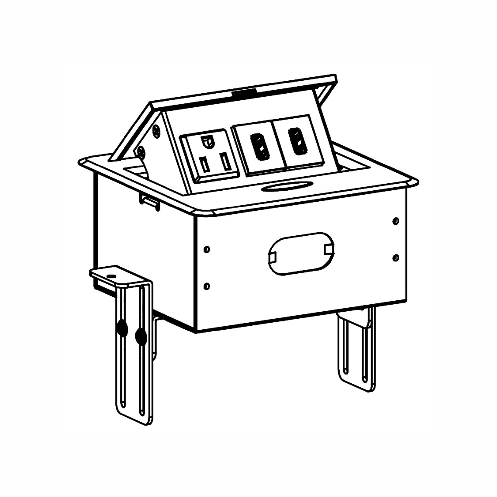 rok ac receptacle plug port pop up counter desk table power hub outlet dual usb 609792656206