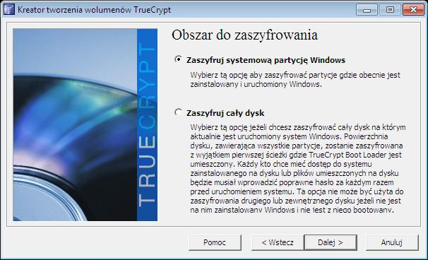 zaszyfruj systemową partycje Windows