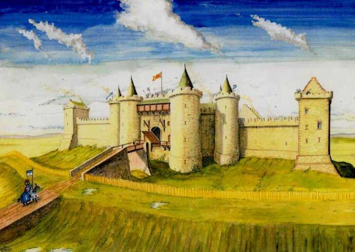Замок Стерлинг – реконструкция. Шотландский художник-график Andrew Spratt