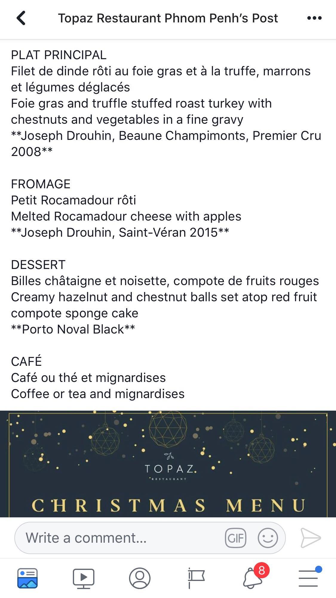 Christmas menu 2