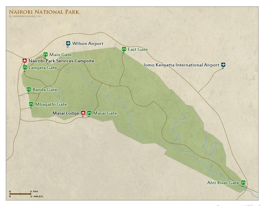 Карта Национального парка Найроби