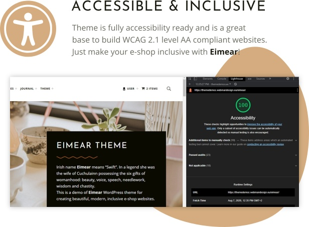 Eimear WordPress theme 100% accessibility ready score