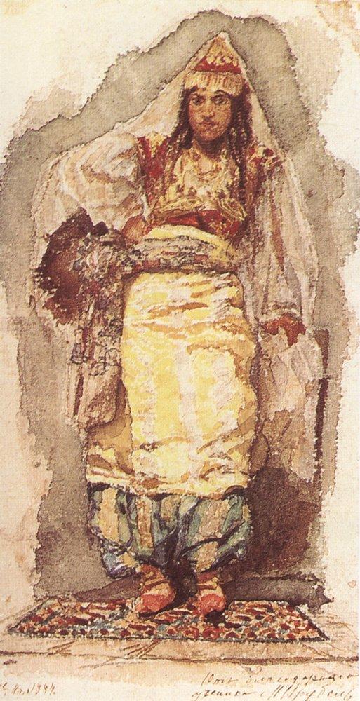 Vrubel Modelo en traje oriental Acuarela