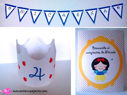 kit fiesta personalizada de cumpleaños de Blancanieves, corona, guirnalda, cartel bienvenida