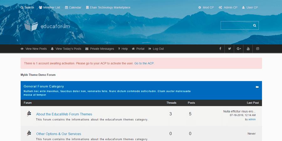 EducaWeb – Responsive MyBB Forum Theme