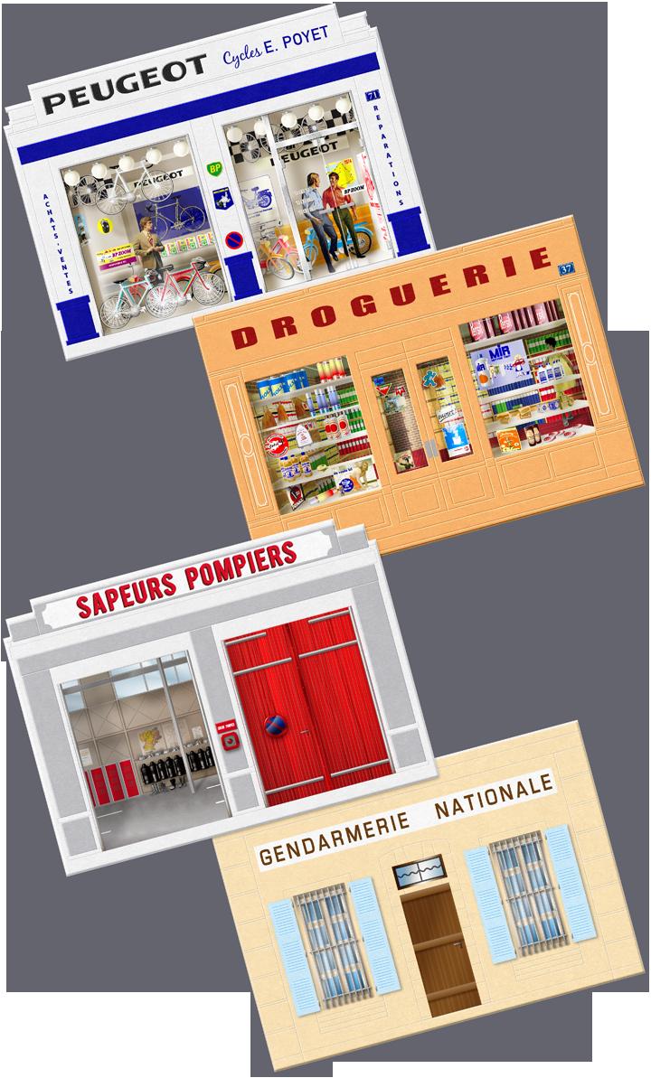 Artworks (illustrations) des vitrines, portes et fenêtres des différentes façades. Cliquez pour afficher en HD