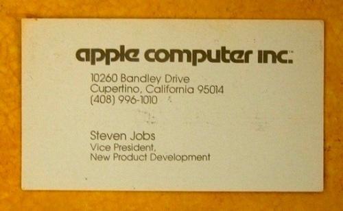 Steve Jobs' business card 30 years ago