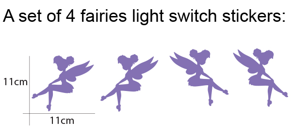 4 Tinkerbell light switch stickers for home