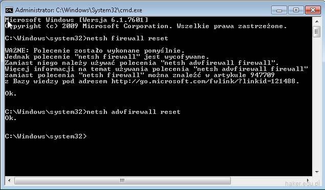 Jak zresetować ustawienia firewall w konsoli cmd.exe?