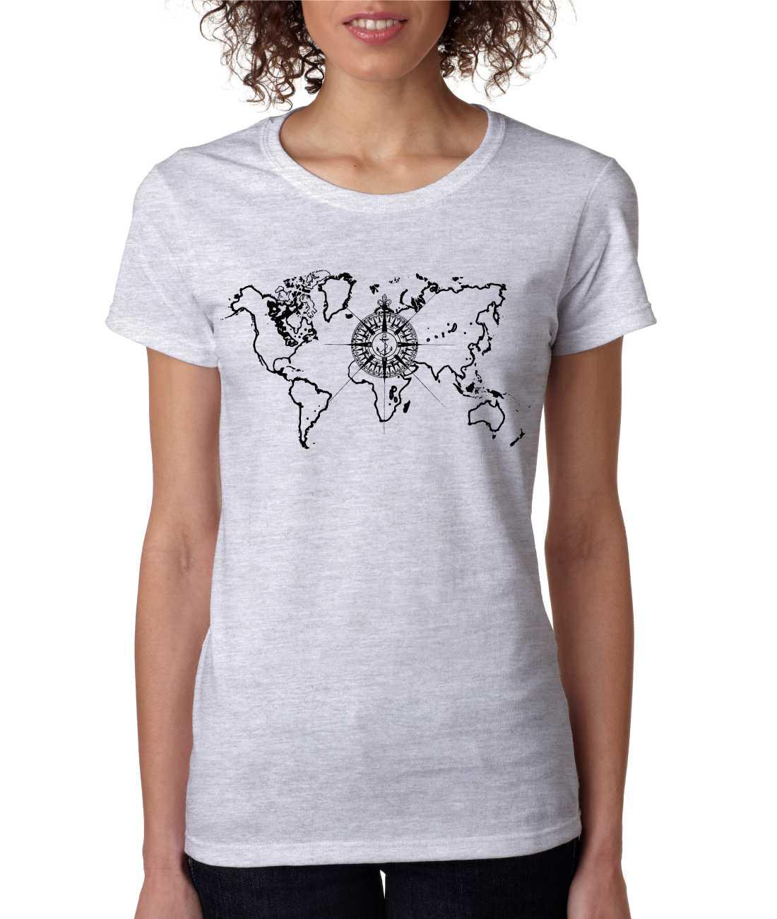 Women 39 S T Shirt World Map Compass Cool Graphic Tee Ebay