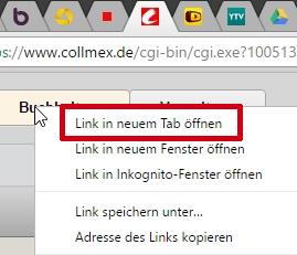 Wird in einem angehefteten Tab ein Link per Kontextmenü angeklickt, erscheint diese Seite in einem regulären Tab (rechts neben den angehefteten).
