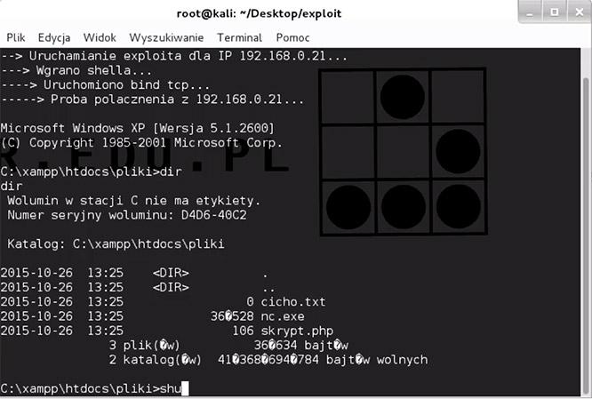 cURL upload netcata wraz z uruchomieniem w Kali Linux