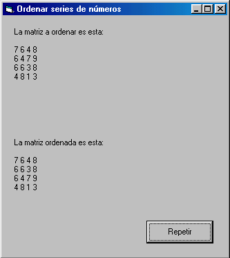 ordenar matrices visual basic