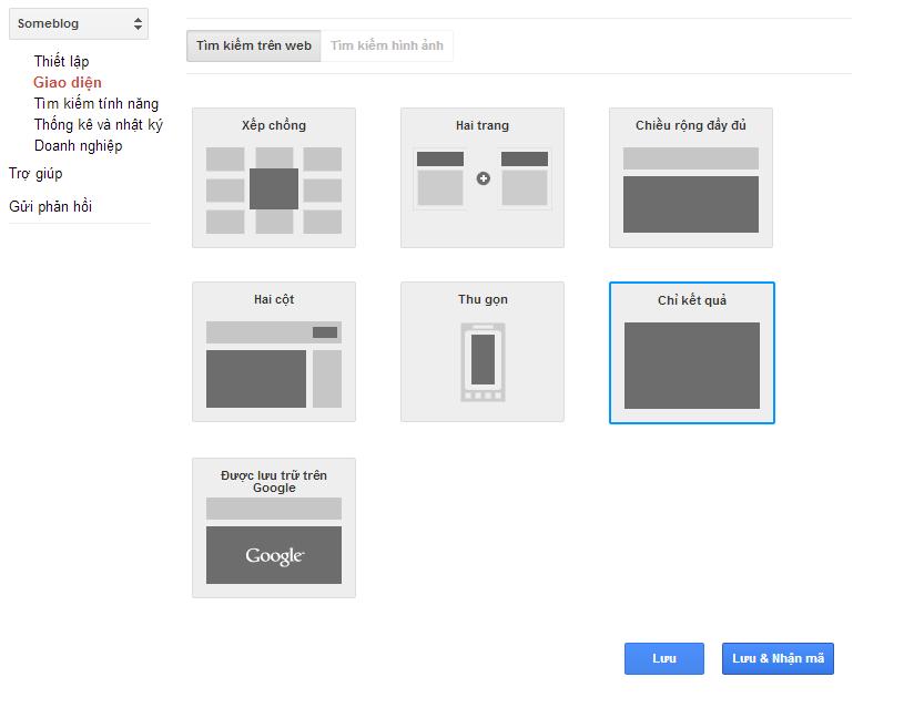 chi hien ket qua tim kiem Google Custom Search