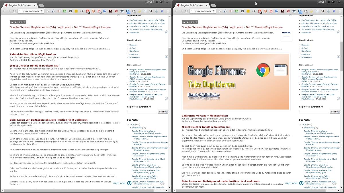 Gleiche Seite, veränderter Inhalt - Links vor, rechts nach der Aktualisierung.