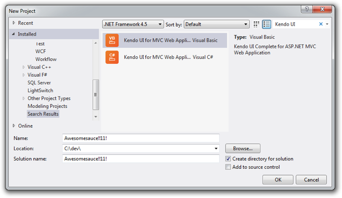 Rocking kendo ui in visual studio 2012 and windows 8 for Kendo grid column template mvc