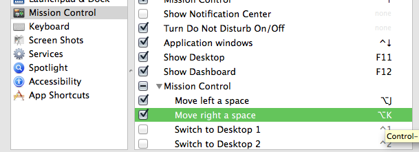 Screenshot of my Mission Control settings