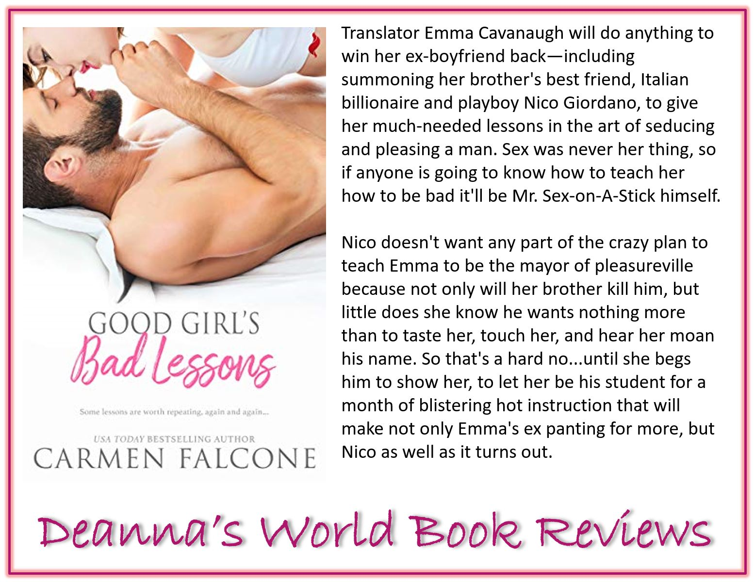 Good Girl's Bad Lessons by Carmen Falcone blurb