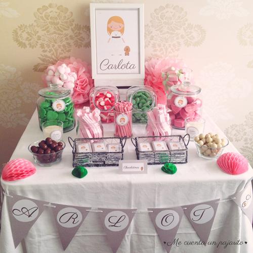 Mesa dulce de la Primera Comunión de Carlota